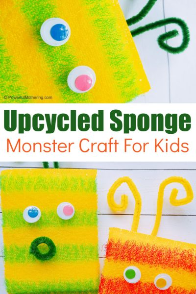 A simple upcycled sponge monster craft