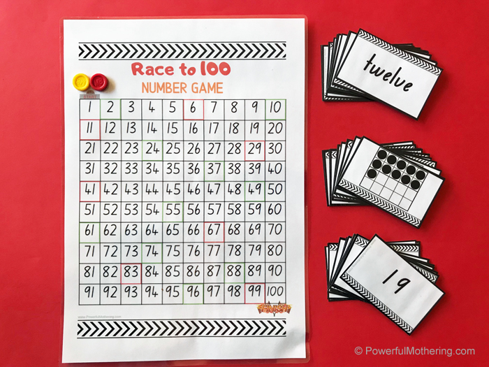 Children will have fun with this printable math game to help learn and practice number sense. Including numbers, number words and ten or twenty frames.