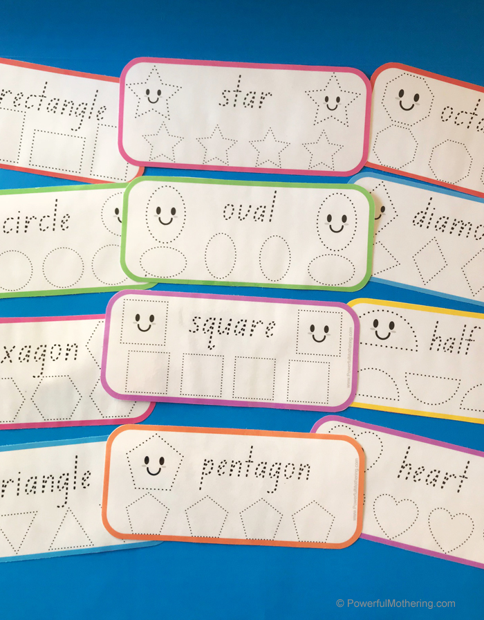Preschool activity to help with prewriting and shape identification.