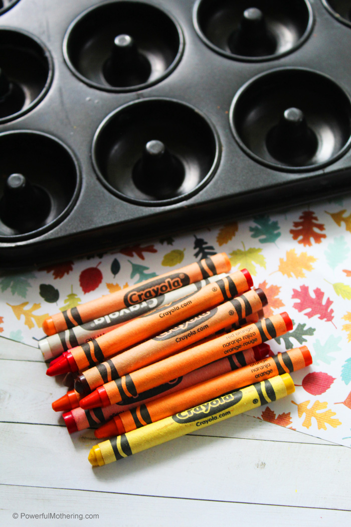 Using old crayons to create new fall inspired crayon discs. This is perfect for art class or at home!