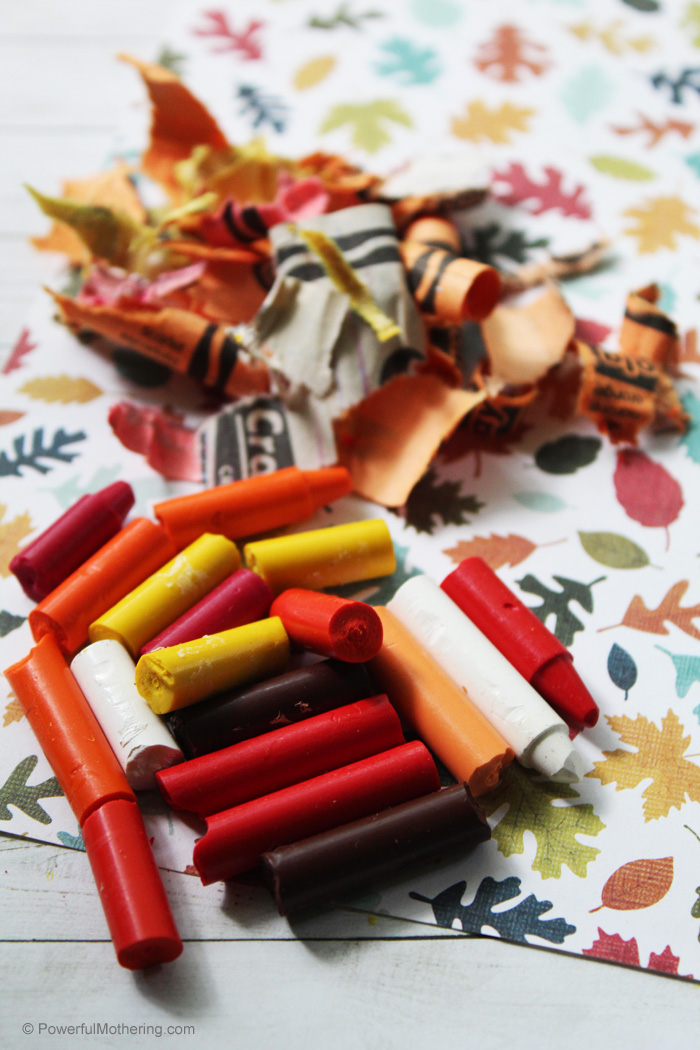 Broken crayons can be used to make new crayons. These are fall inspired.
