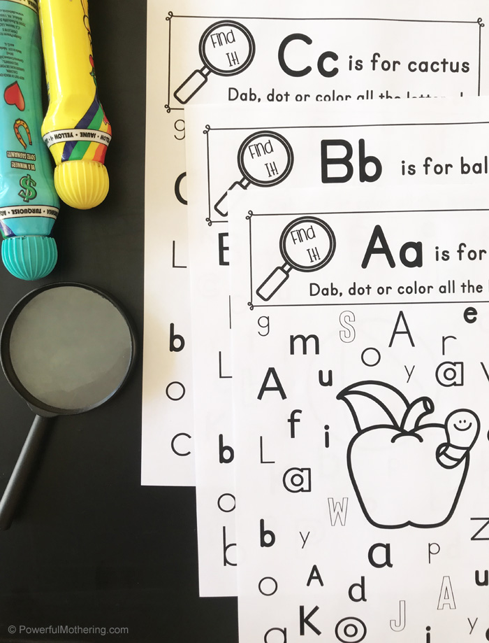 An I Spy Letter Game perfect for preschoolers and kindergarteners to help with letter identification!
