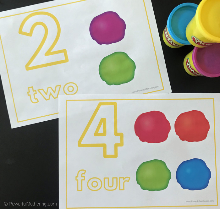Playdough mats for number identification.