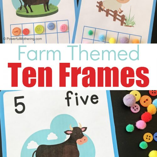 Farm themed ten frames printables to help children with counting and fine motor skills.