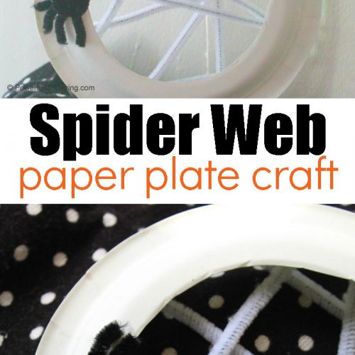 Simple and Spooky Halloween craft for kids: Paper Plate Spider Web