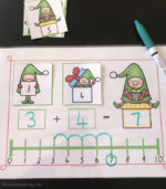 Christmas Elves Number Line Sums For 1-10