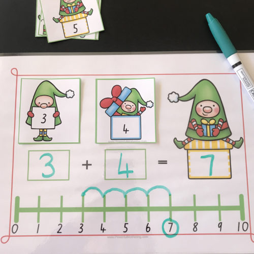 Christmas Elves Number Line Activity for Addition and Subtraction.