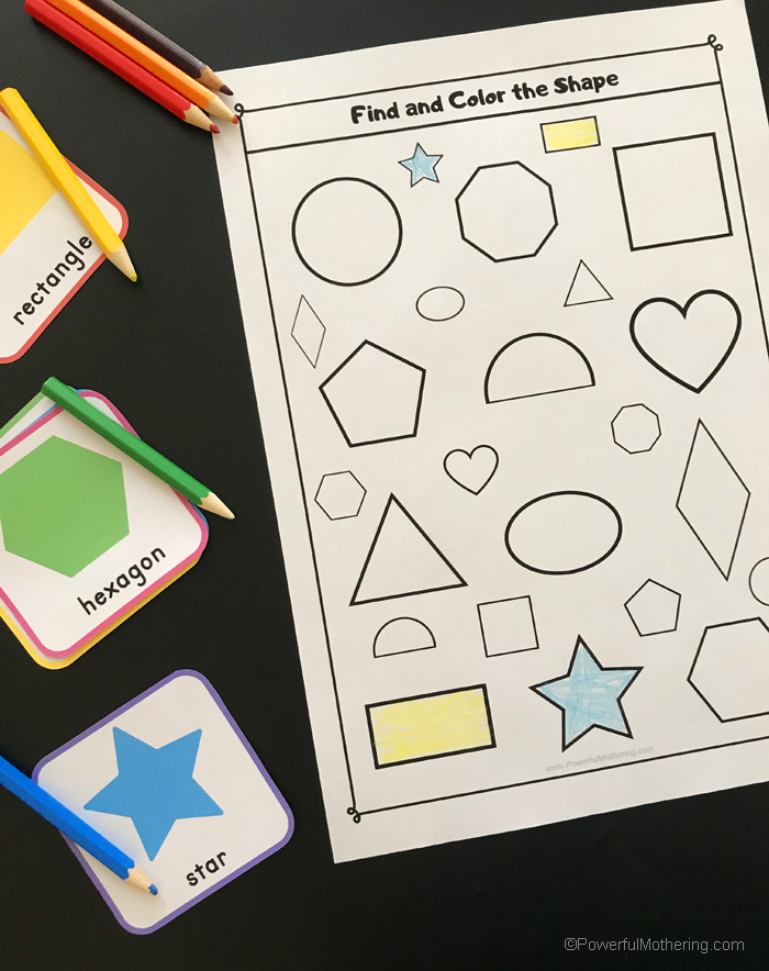 A fun shape sensory bin search activity with free printable. This is a great way for children to identify shapes and match them to their twin.