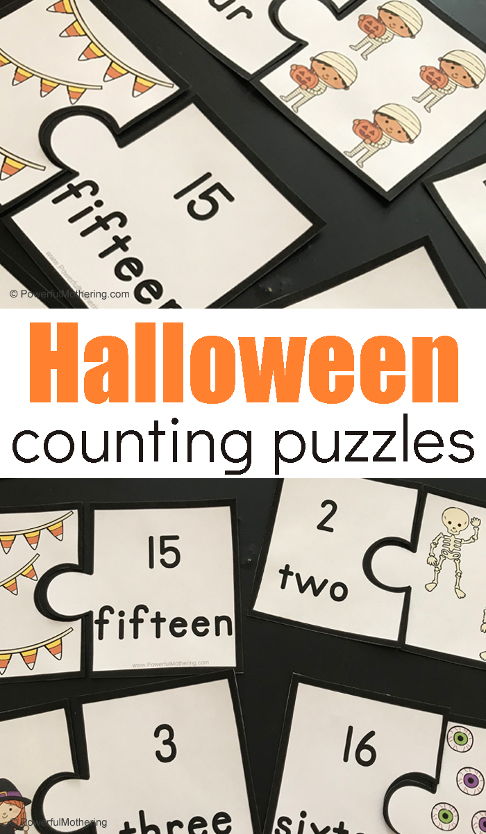 A simple Halloween Counting Puzzle activity to help children strengthen number sense skills!