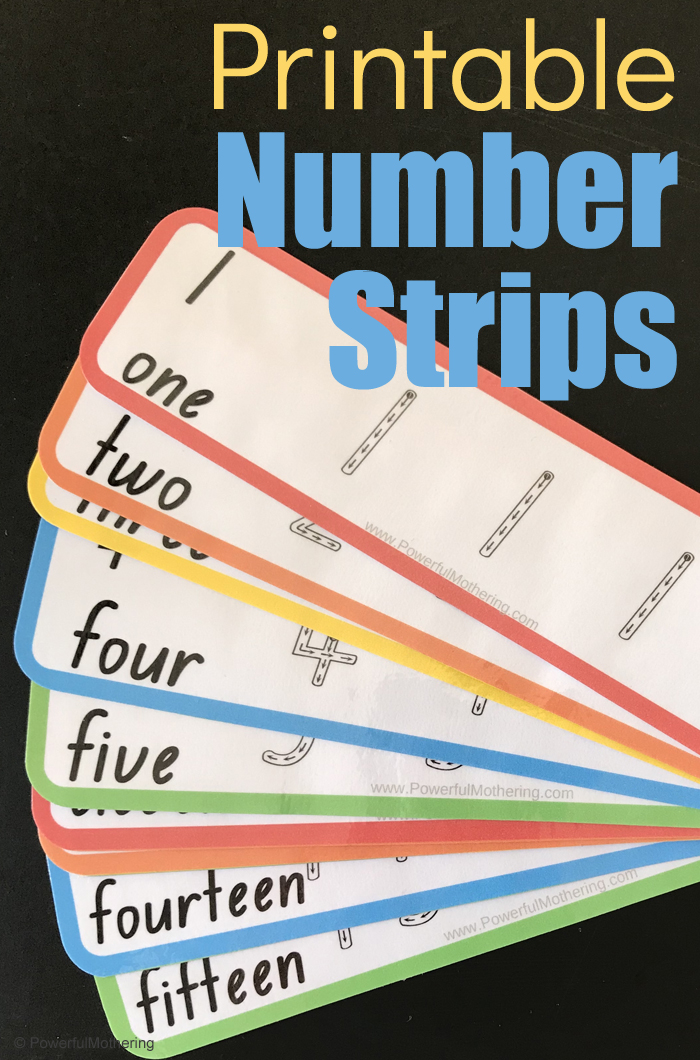 A simple printable activity of number strips to help strengthen number 1-20 and handwriting skills. This is great for preschoolers and kindergarteners!