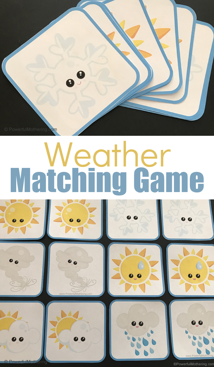Weather matching Game. A traditional matching game with fun weather pictures!