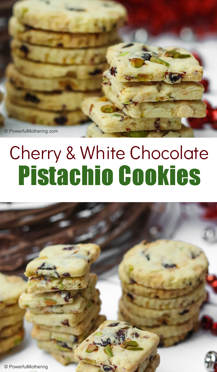 The perfect holiday cookie: Cherry and White Chocolate Pistachio Cookies. These are sweet, chewy, crunchy, melty plus sweet and salty. Everyone will love these cookies for Christmas!