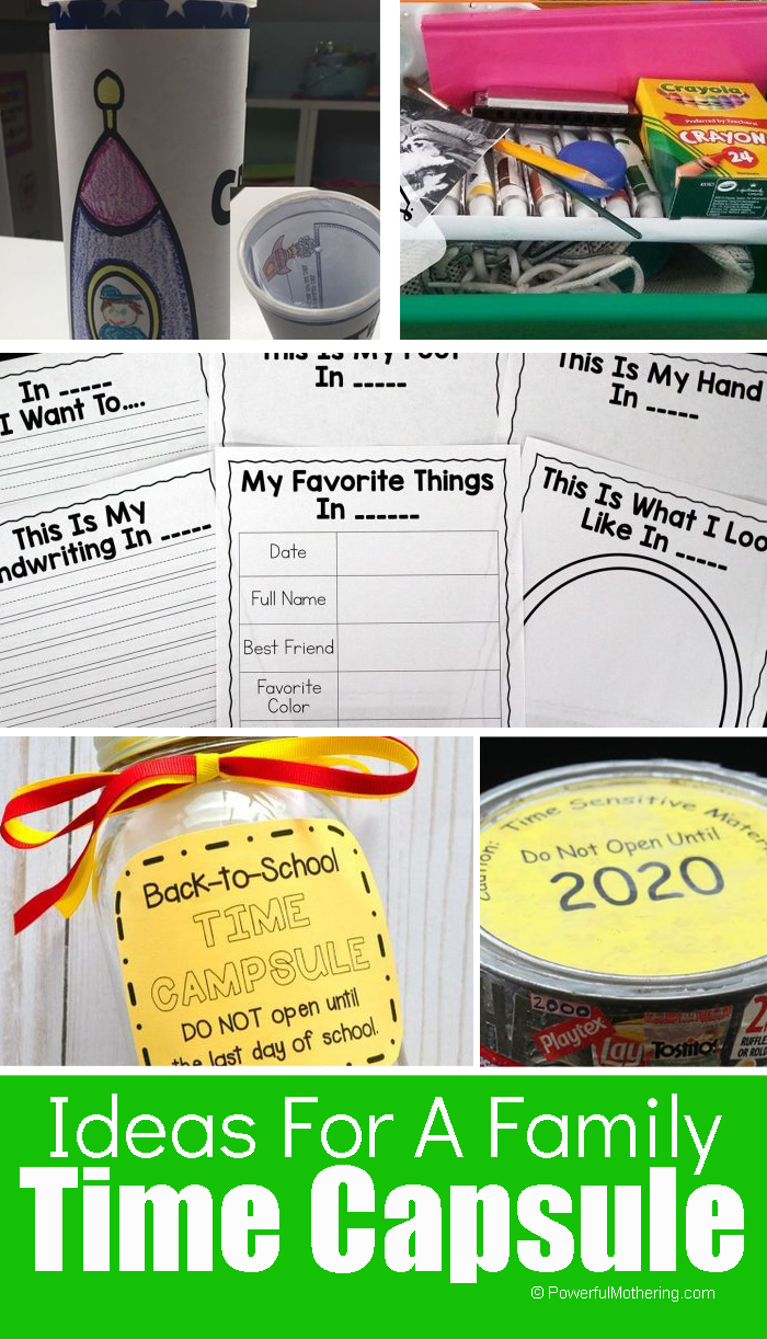 Ideas of how to create a simple time capsule for you and your family. A great way to preserve memories.