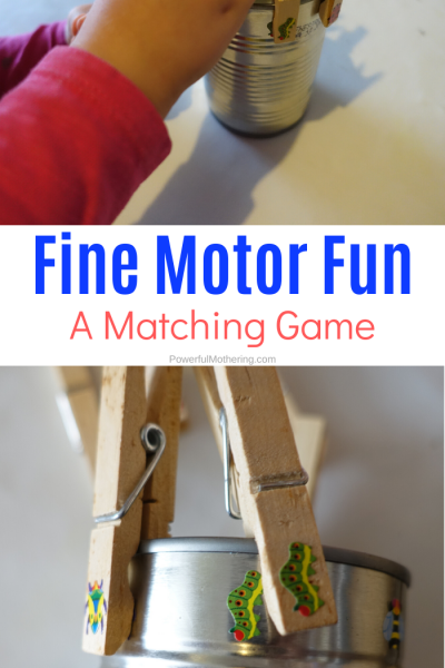 Fun fine motor activity for toddlers and preschoolers to strengthen hand muscles while playing a matching game.