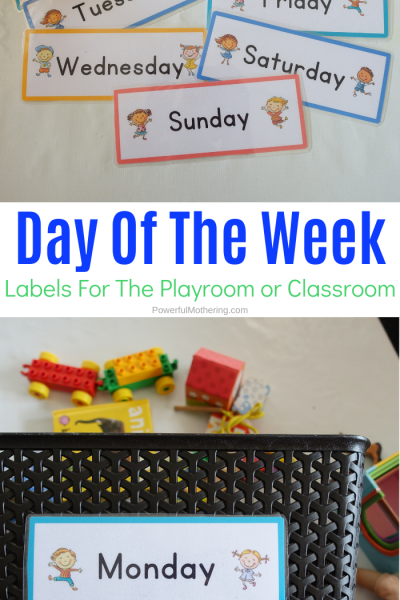 A super simple way to ensure toy rotation in the home or classroom. These day of the week labels are a free printable and useful for so many things!