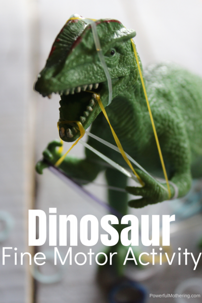 A Simple Fine Motor activity with a dinosaur. Kids will be entertained while practicing important skills