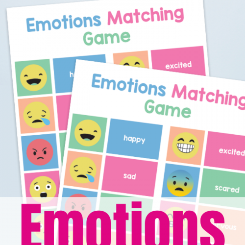 Printable Emtotions Matching Game to help kids learn to sort and understand their feelings while strengthening attention and cognitive skills.