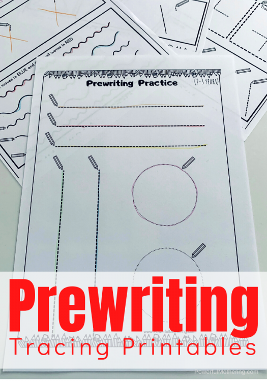 Prewriting Tracing Printables for children of all ages and stages of prewriting skills. #prewriting #freeprintables #finemotorskills