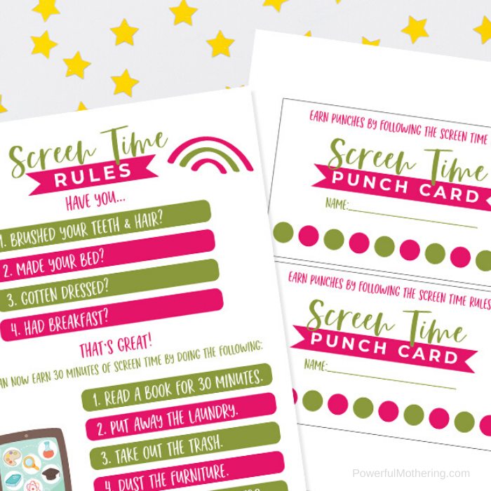 A fun printable set to help encourage responsibility and limiting screen time for kids.