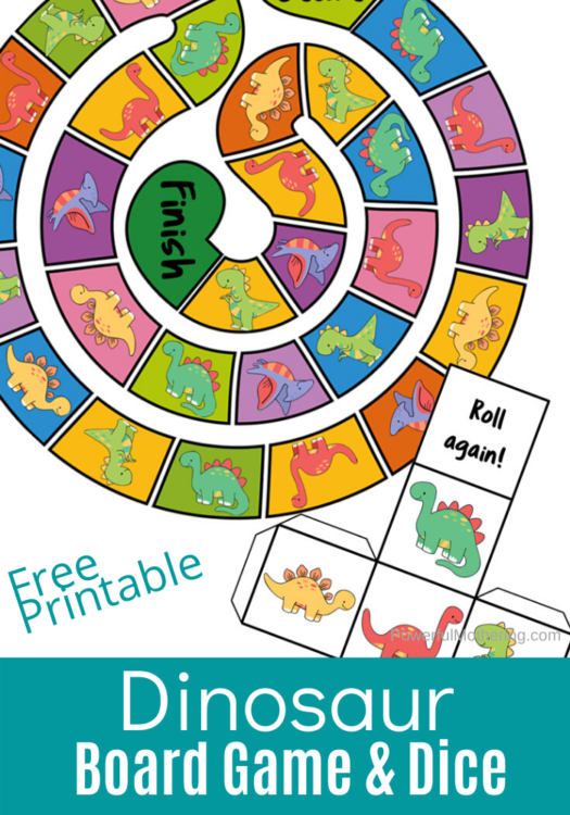 A simple dinosaur themed board game kids will love. This printable set comes with the board game as well as the dice.