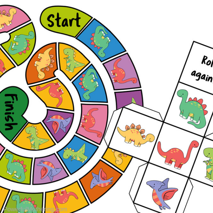 A simple dinosaur board game kids will love. This set comes with the board game as well as the dice and tons of fun & learning to be had!