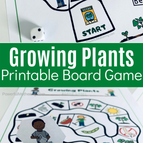 A simple, printable board game for kids. Kids can help the plants grow while strengthening team work and simple math skills.