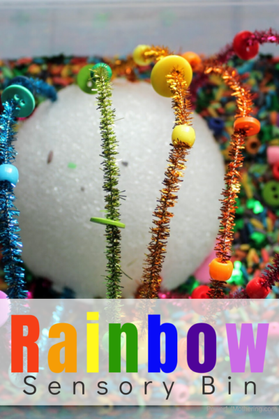A fun and colorful Rainbow Sensory Bin to help children with color recognition as well as fine motor skills.