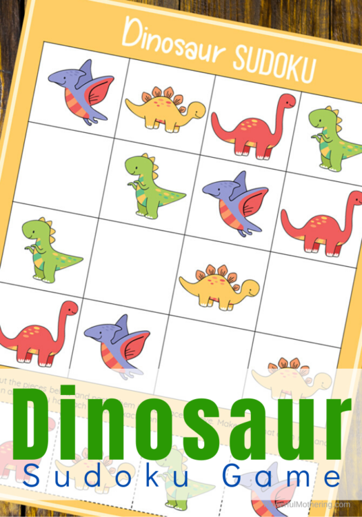 A printable Dinosaur Sudoku game for kids. This fun game will help encourage math skills as well as logic, reasoning, patience, memory and so much more!