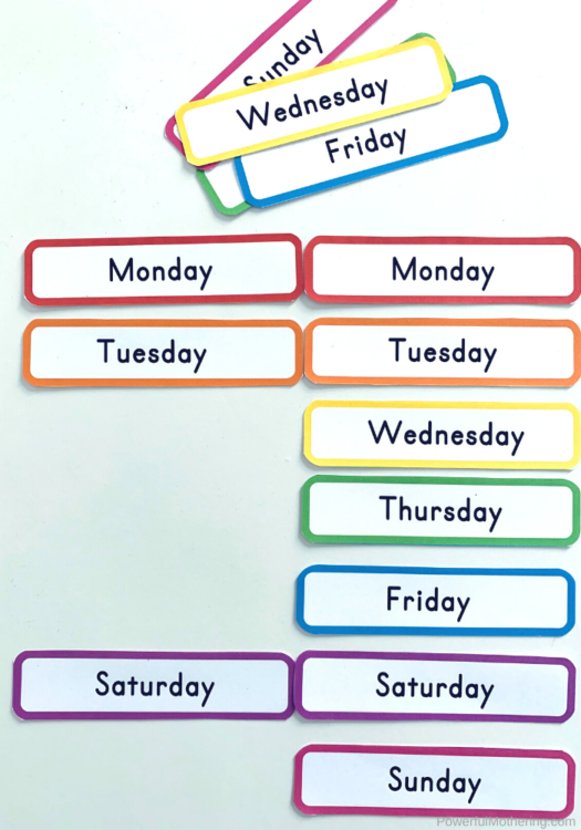 Printable cards or labels for the Day Of The Week. These can be used for games, labels, calendars, flash cards, and more! Perfect for homeschool, preschool or kindergarten classroom!
