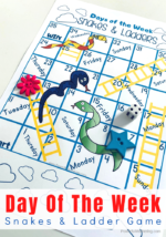 Snakes and Ladders: A Printable Days Of The Week Board Game