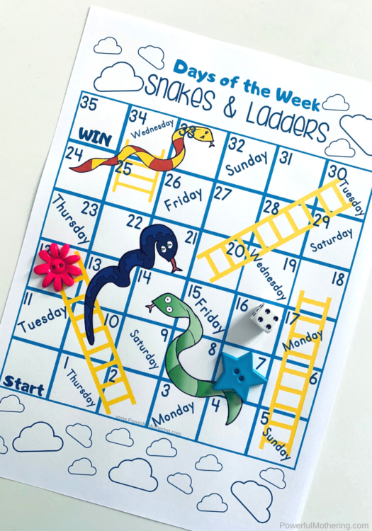 A fun printable board game to help kids learn the days of the week and their order.