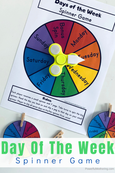 A simple printable game for preschoolers to help practice identifying the days of the week. This is great for preschool, kindergarten and at home!