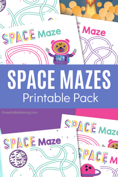 A fun printable set of Space Mazes that are fun for kids. These mazes help strengthen fine motor skills and prewriting skills.