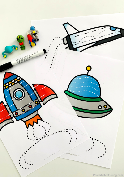 These Space Prewriting Printables are helpful for strengthening hand and finger muscles which will help children with their future handwriting skills.