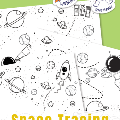 Simple Space printables for kids to trace and color. A fun way to strengthen prewriting skills.