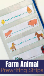 Printable Farm Animal Prewriting Strips