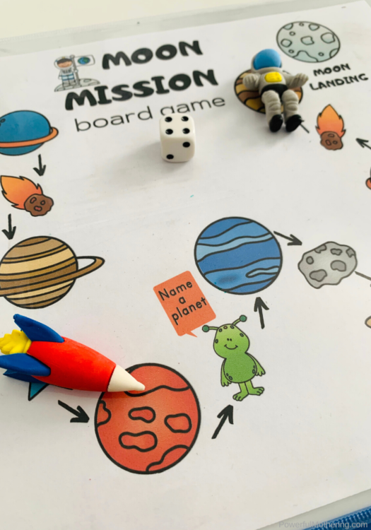 This is a fun board game to help children develop skills as well as practice counting.