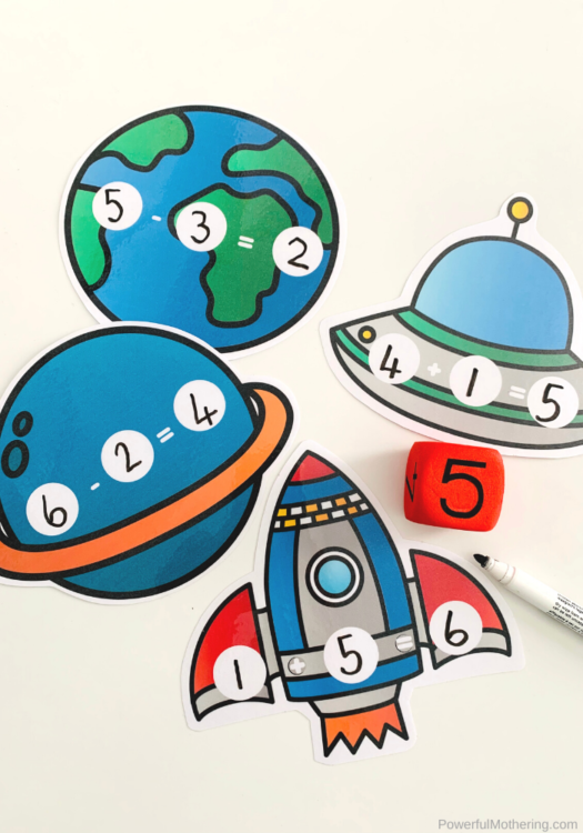 A fun Space Sums Math Game is perfect to introduce and practice addition and subtraction for kids. The fun space theme is icing on the cake!