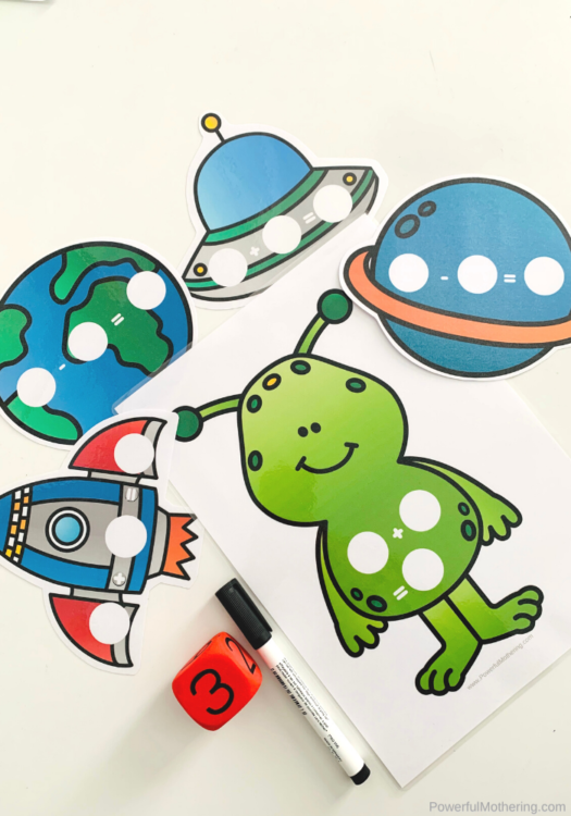 A fun Space Sums Math Game is perfect to introduce and practice addition and subtraction for kids. The fun space theme is icing on the cake! #addition #subtraction #spaceactivities