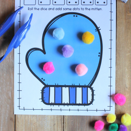 A printable Mitten Math Mat to help children strengthen fine motor skills and practice simple math skills. These mats can be used for counting, addition or subtraction.