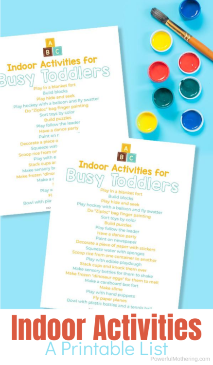 A Printable List of indoor activities for kids. This is super helpful for busy parents! #indooractivities #freeprintable #parenting