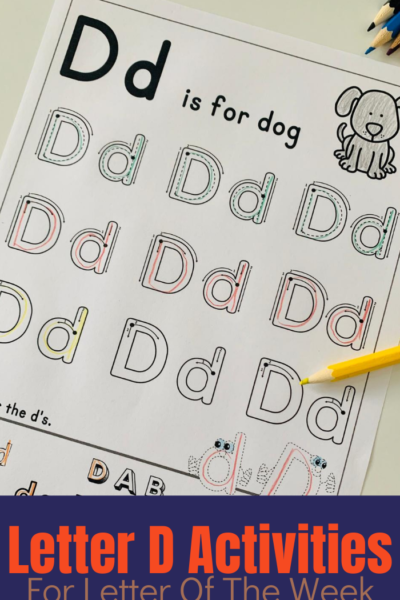 A printable set of a variety of activities centered around the Letter D to help children learn to read and write the letter.