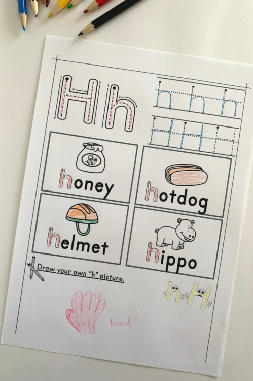 Printable letter tracing worksheets for the letter H. Help kids practice letter identification as well as writing.