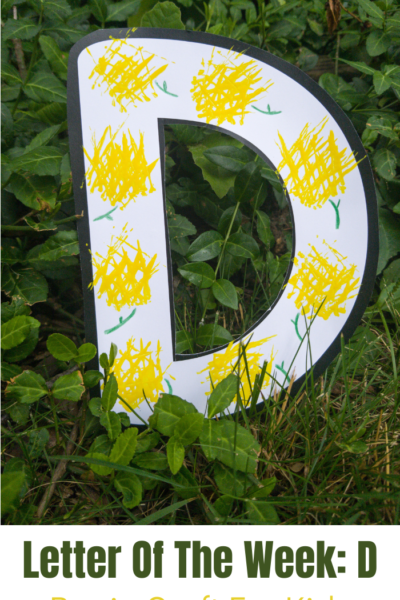 This D is for dandelion craft for kids is such a fun way to explore the letter D! This is an easy alphabet themed craft for kids, and one that you can make in under 30 minutes. Print out the template provided for you, then give this fun D themed craft a try!