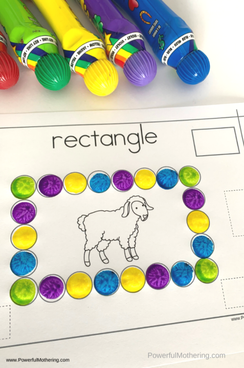 A fun shape activity using do a dot markers. Kids will love this farm animal theme and learning about shapes too!