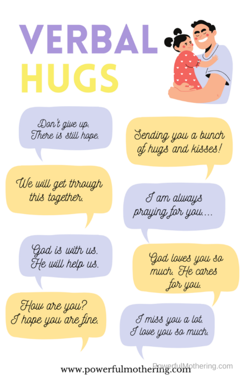 Simple ideas to encourage and show love to someone without physical touch.