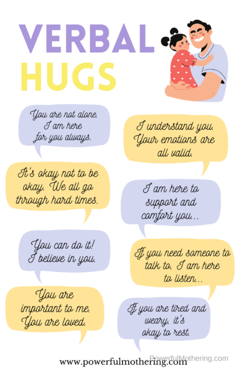 Simple ideas to encourage and show love to someone without physical touch. #verbalhugs #encouragement #positivethoughts
