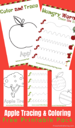 Apple Prewriting Printables: Color and Tracing Worksheets