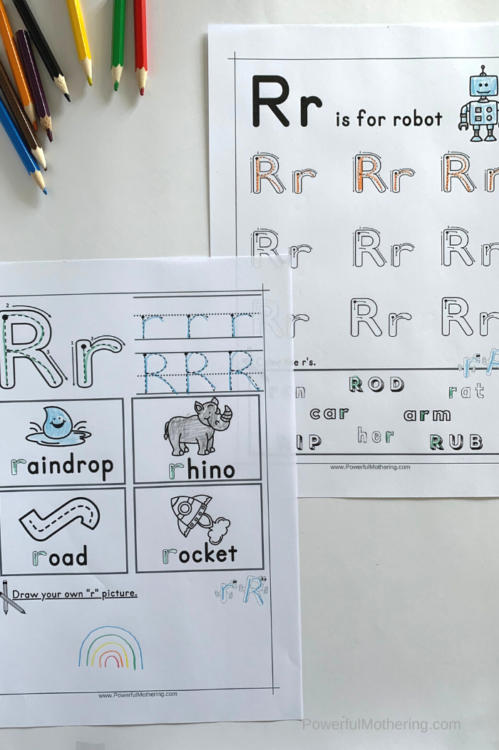 Free Printable Letter R Tracing Worksheets that will help children with the letter R
