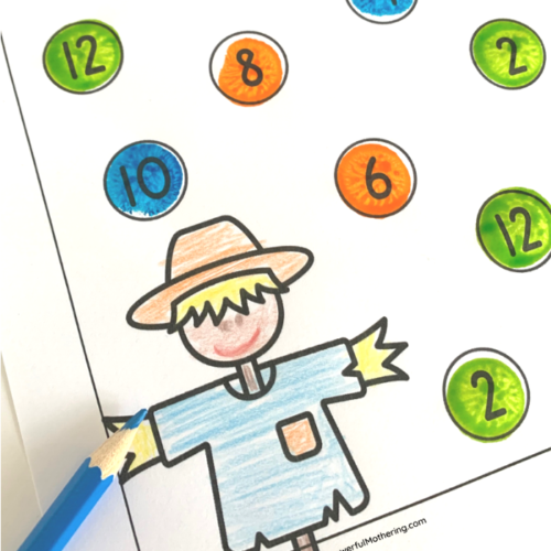 A simple free printable game for kids to learn and practice number recognition and counting.